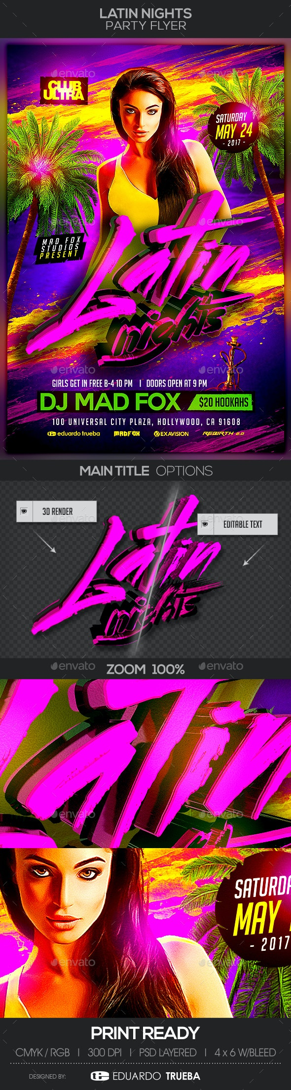 Latin Nights Party Flyer - Clubs & Parties Events