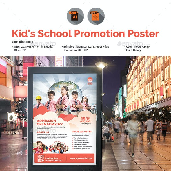 Kid's School Promotion Poster Template