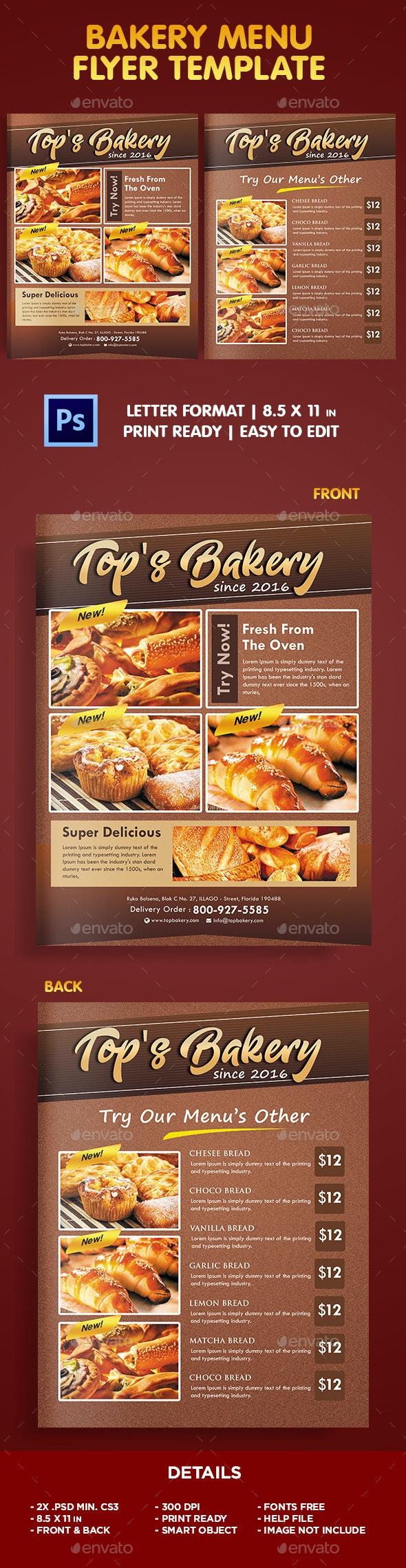 Bakery Menu Flyer Template - Flyers Print Templates