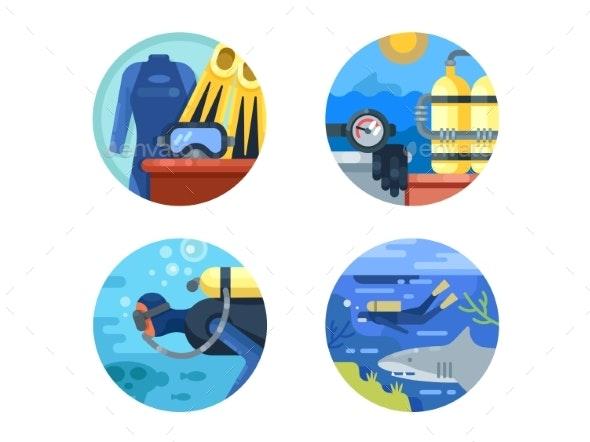 Diving Icon Set - Web Elements Vectors