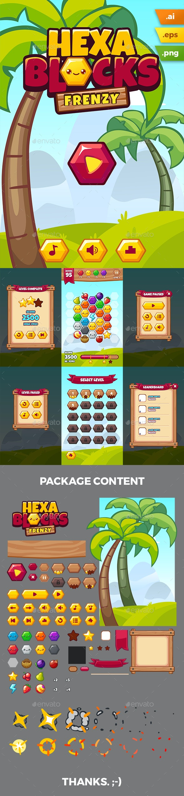 Hexablocks Frenzy Game Kit - Game Kits Game Assets