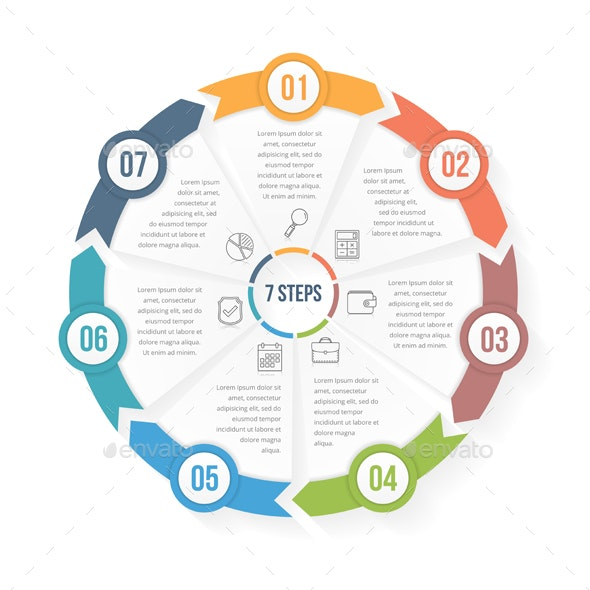 Circle Infographic Template with Seven Elements - Infographics