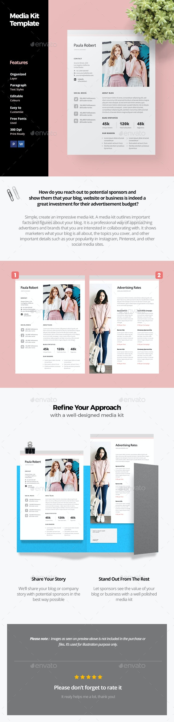Blog Media Kit Template - Proposals & Invoices Stationery
