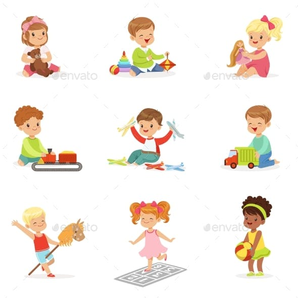 Children Playing with Different Toys