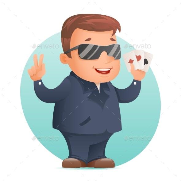 Casino Poker Cards Gambling Mascot Professional