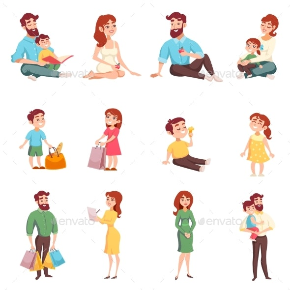 Family Members Cartoon Style Set - People Characters