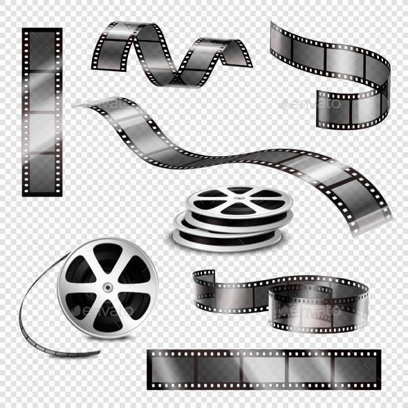 Realistic Photographic Strips and Film Reels - Media Technology