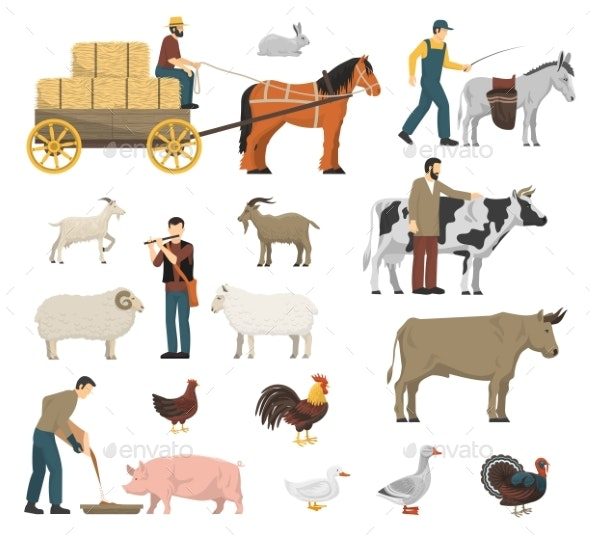 Farm Animals Set - People Characters