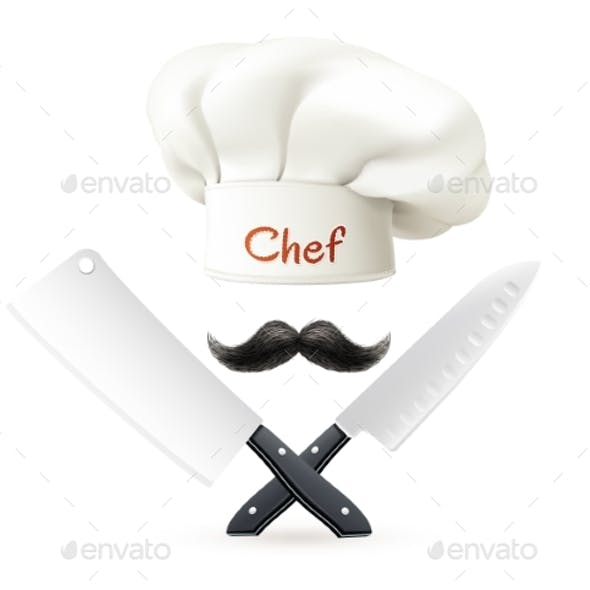 Hat of Chef Mustache and Knives