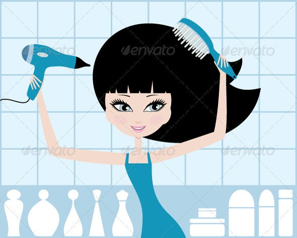 Pretty Girl Dries Hair - Characters Vectors