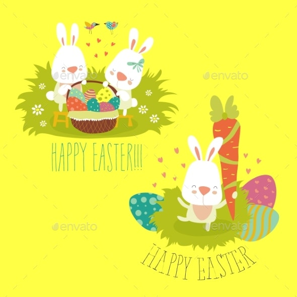 Collection of Easter Bunnies with Colorful Eggs - Miscellaneous Seasons/Holidays