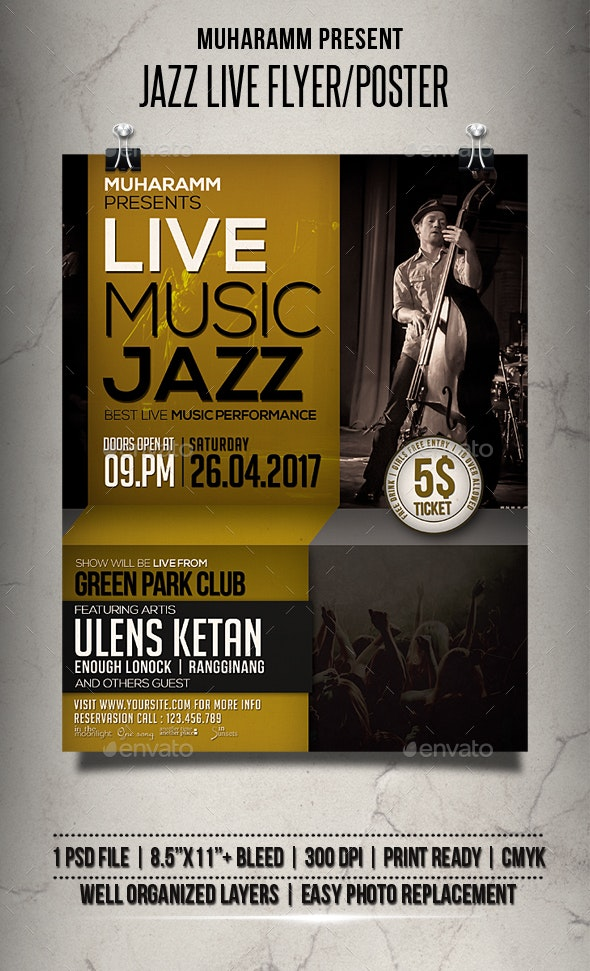 Jazz Live Flyer / Poster - Events Flyers