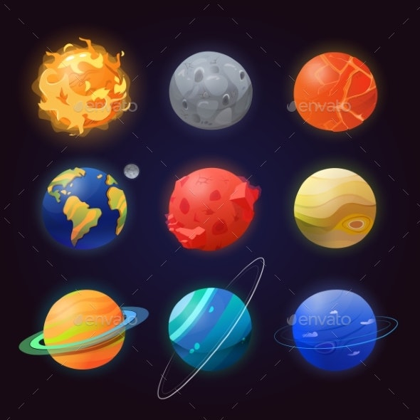 Set of Isolated Solar System Planets and Sun. - Technology Conceptual