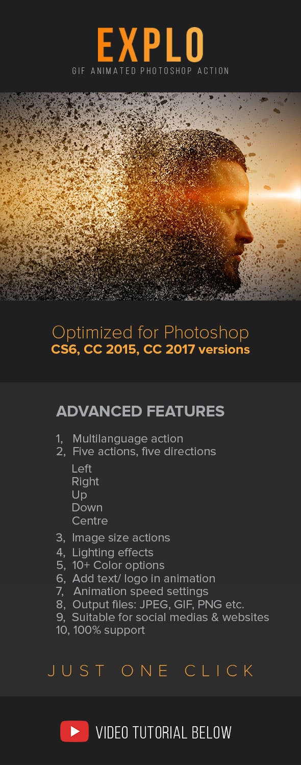 Gif Animated Explo Photoshop Action - Photo Effects Actions