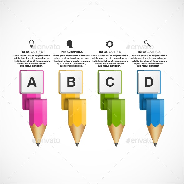 Educational Infographics template with colored pencil. - Infographics