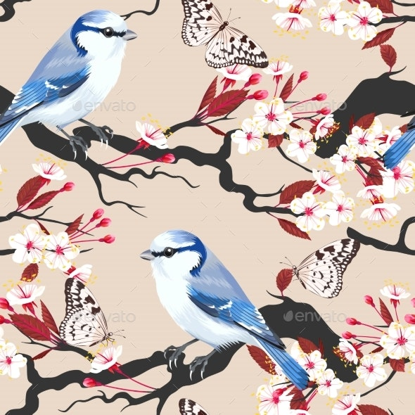 Bird on Cherry Branch Seamless - Backgrounds Decorative