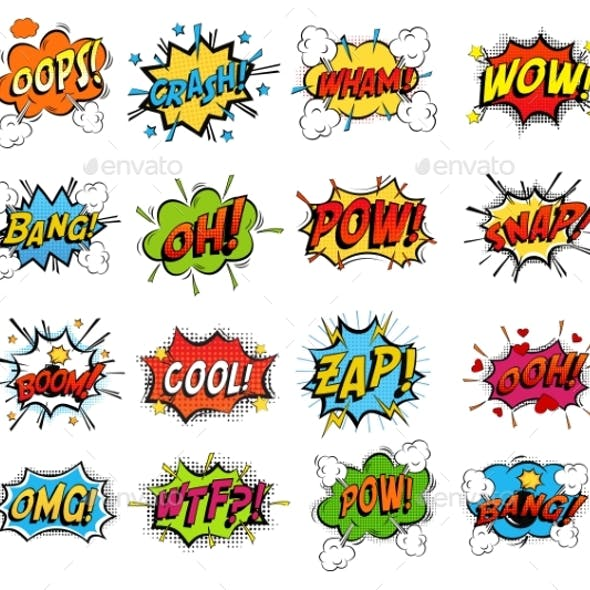 Set of Comic Bubble Speech Clouds, Onomatopoeia