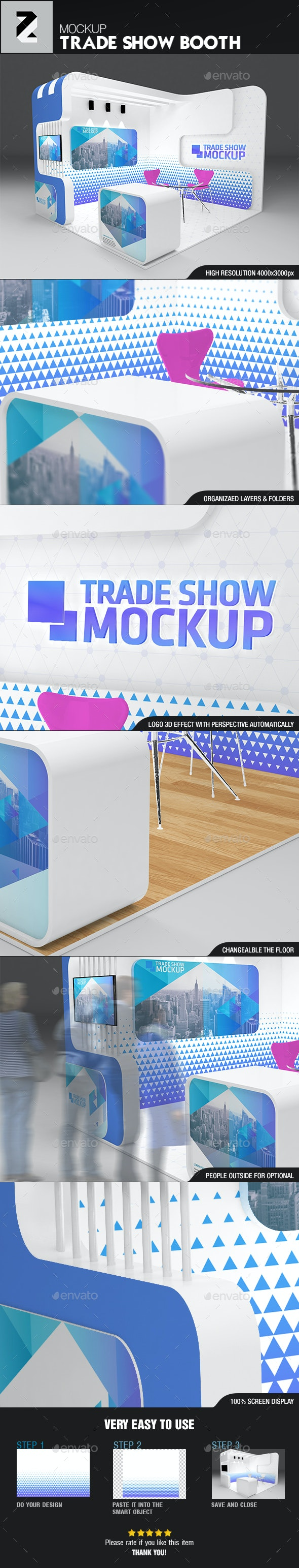 Unique Trade Show Booth Mockup - Signage Print