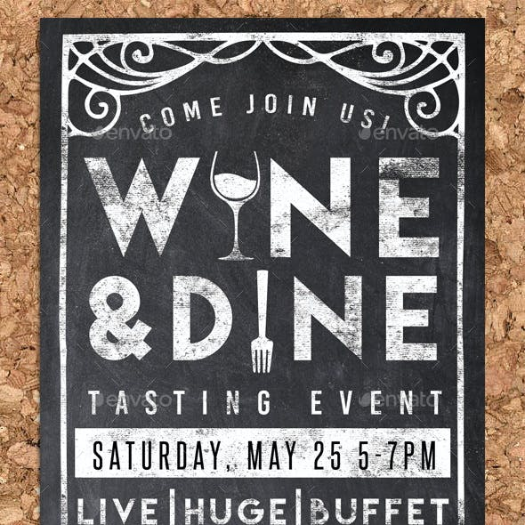 Wine & Dine Event Chalk Flyer Invite