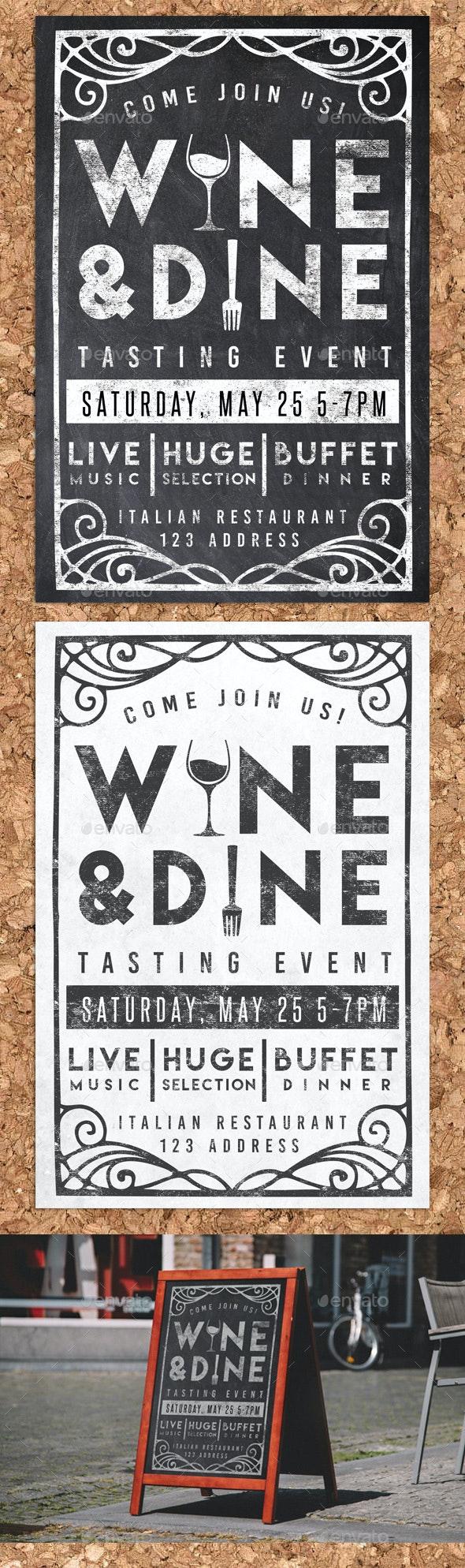 Wine & Dine Event Chalk Flyer Invite - Restaurant Flyers