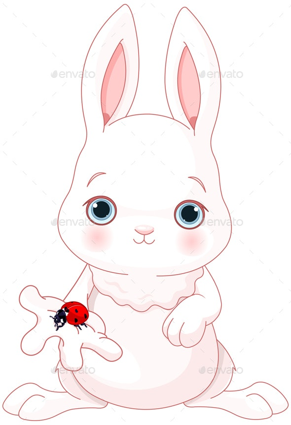 Bunny Holds Lady Bug - Animals Characters