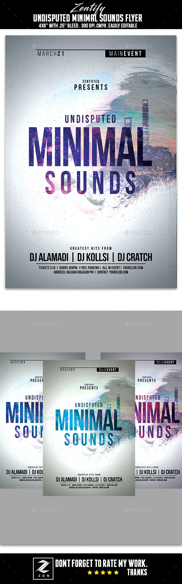 Undisputed Minimal Sounds Flyer - Flyers Print Templates