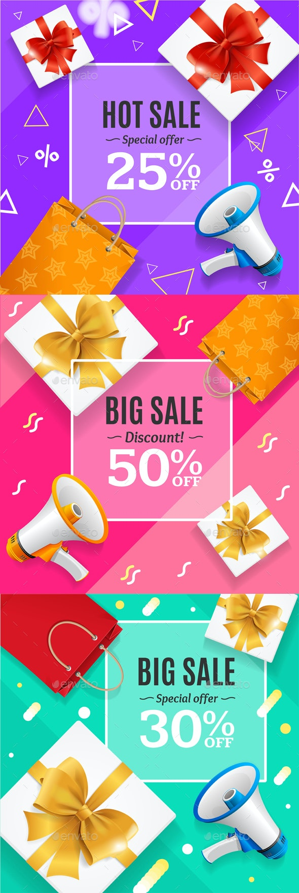Big Sale Banner Card or Poster Set. Vector - Commercial / Shopping Conceptual