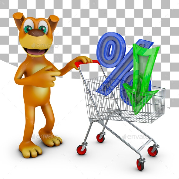 Dog with trolley and percent - Graphics