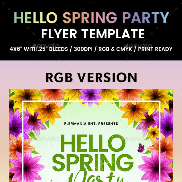 Hello Spring Party Flyer Template
