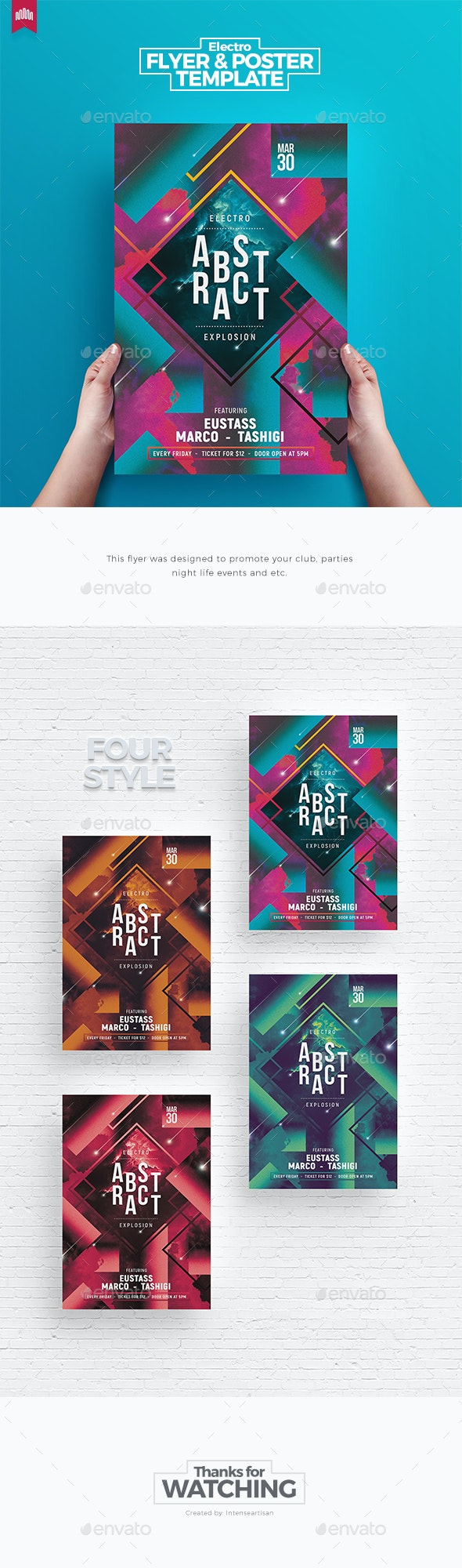 Electro Abstract - Flyer Template - Clubs & Parties Events