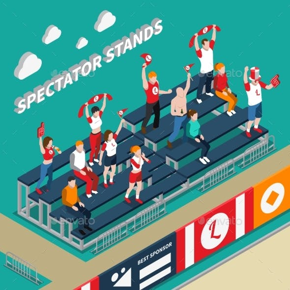 Spectator Stands with Fans Isometric Illustration