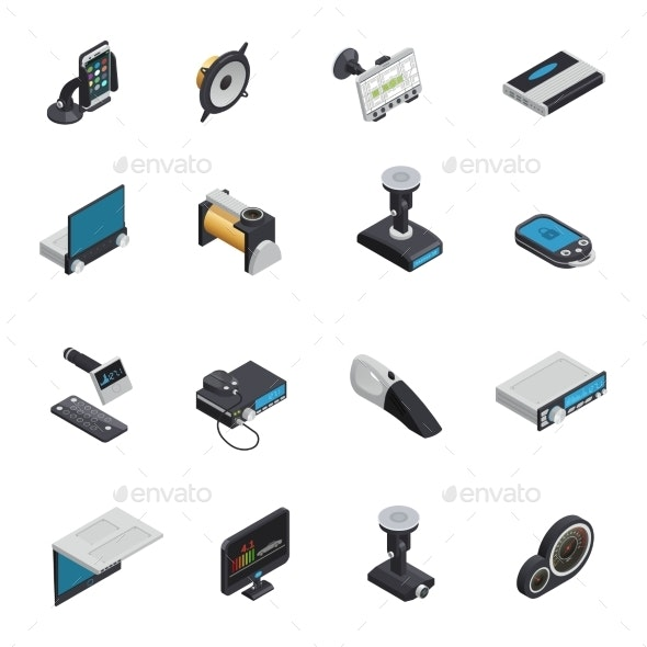 Car Electronics Isometric Icons - Man-made Objects Objects