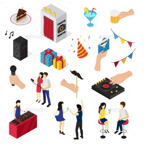 Party Isometric Icons Collection - Miscellaneous Vectors