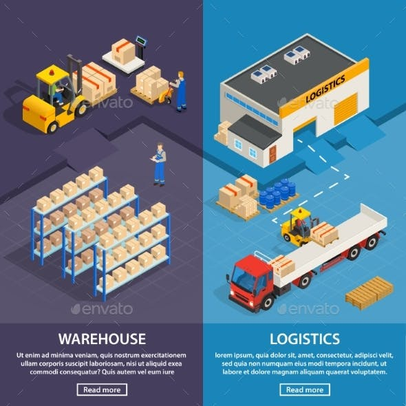 Logistics and Warehouse Vertical Banners