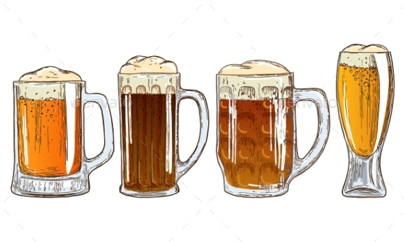 Set of Mugs of Beer - Food Objects