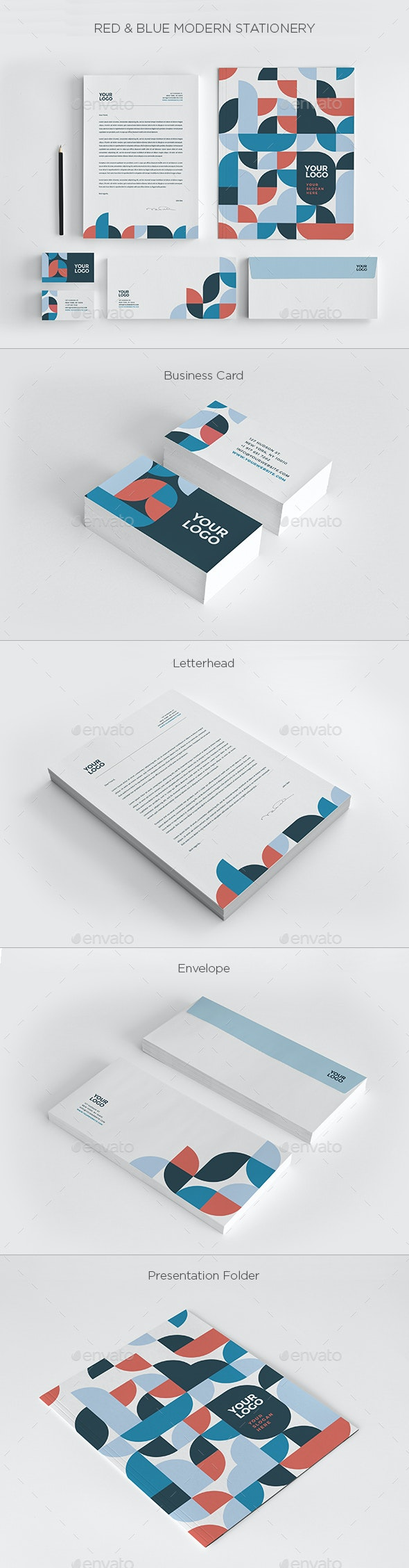 Red & Blue Modern Stationery - Stationery Print Templates