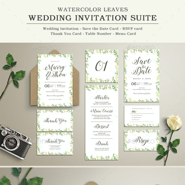 Watercolor Leaves Wedding Invitation Suite
