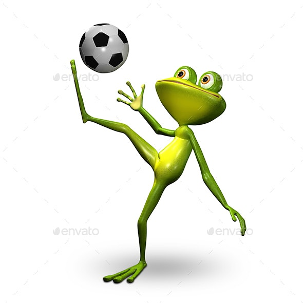3D Illustration Frog with Ball - Characters 3D Renders