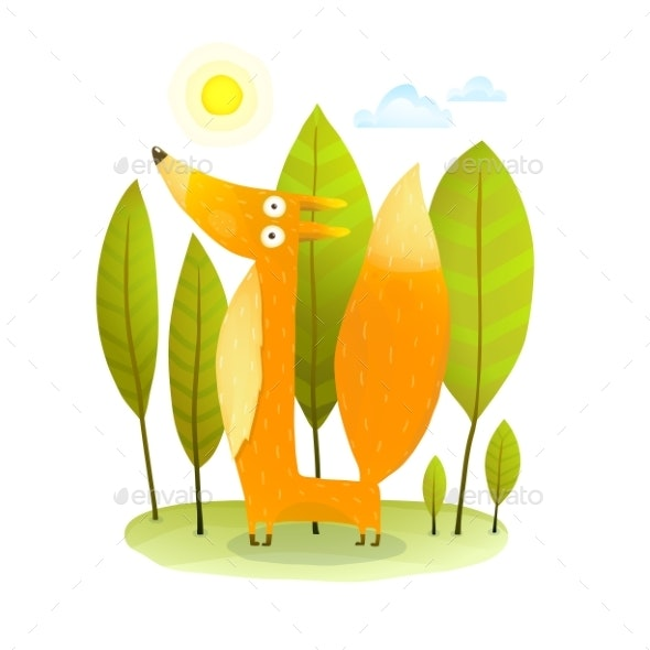 Kids Fox in Wild Trees - Animals Characters