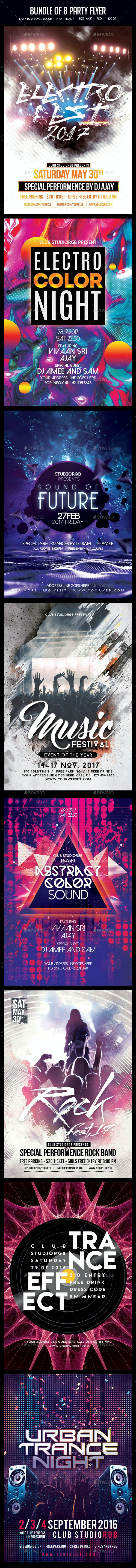 Bundle of 8 Music Party Flyers - Clubs & Parties Events