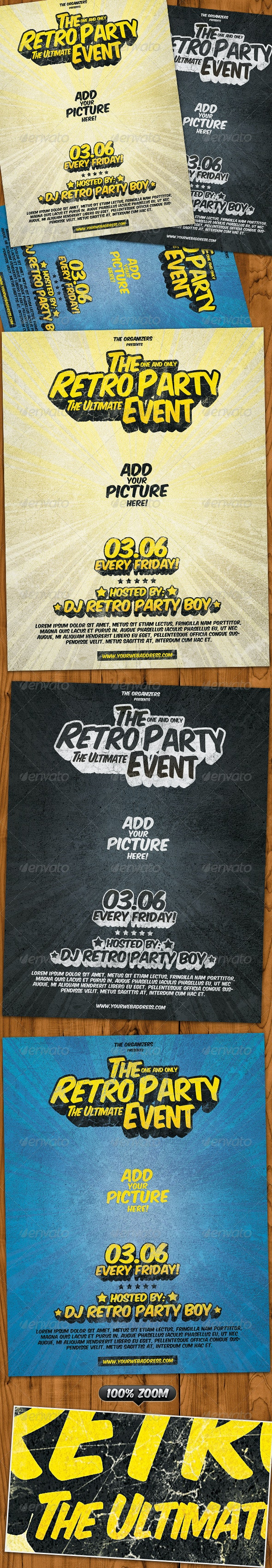 Retro Party Flyer 3 in 1 - Clubs & Parties Events