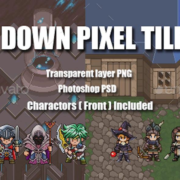 Top - Down Pixel Tiles Set
