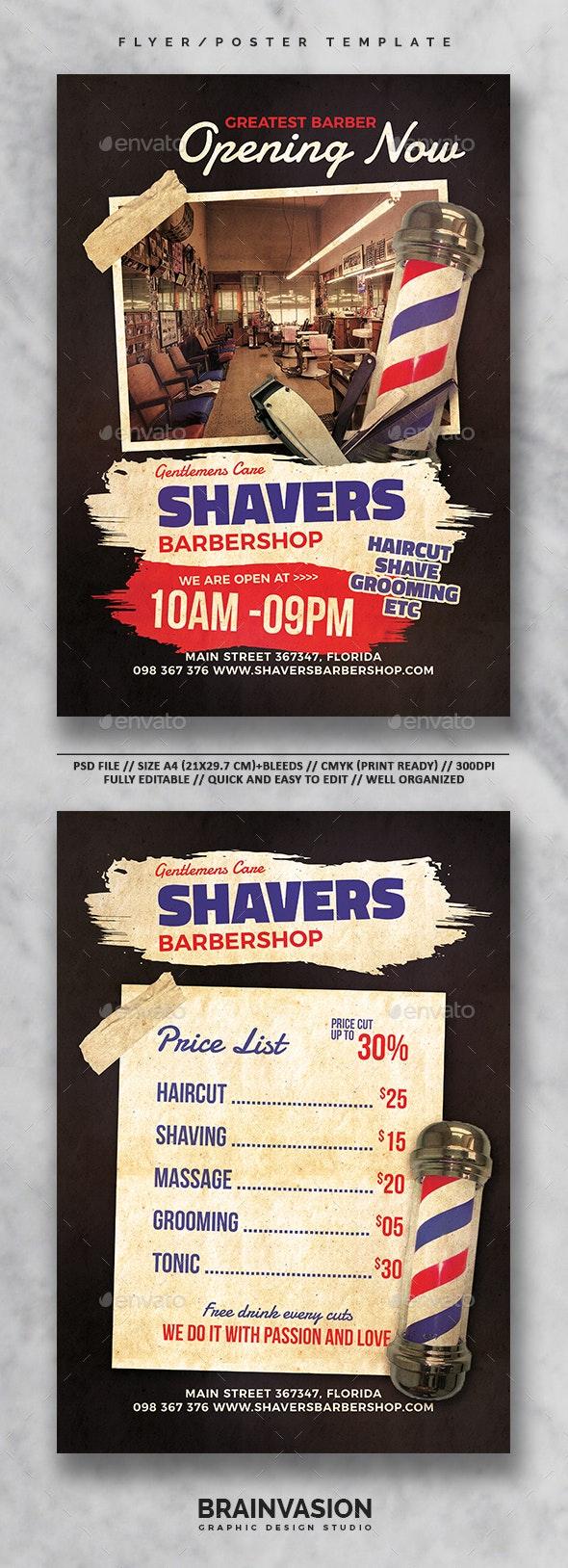 Barbershop Flyer/Poster Template Vol.01 - Commerce Flyers