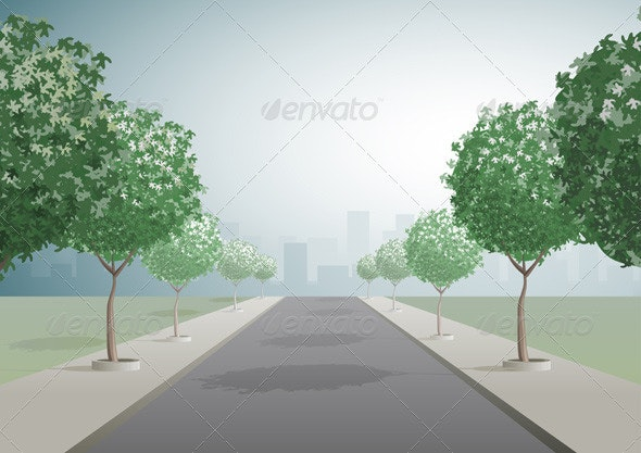 City Road and Trees - Landscapes Nature