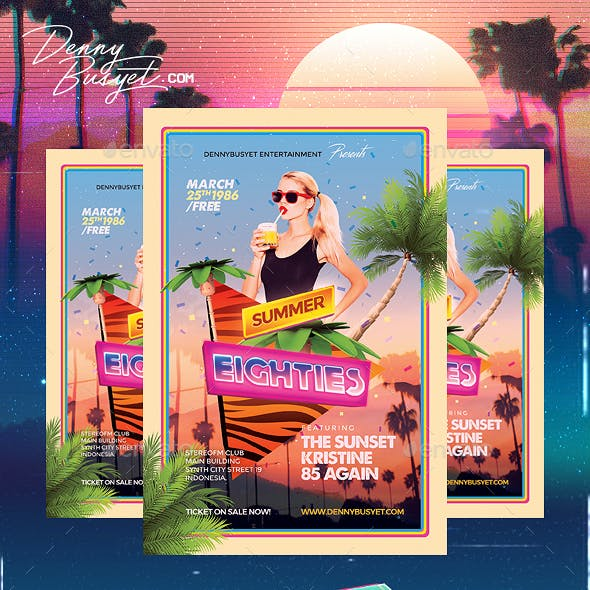 Summer 80's Synthwave Flyer Template