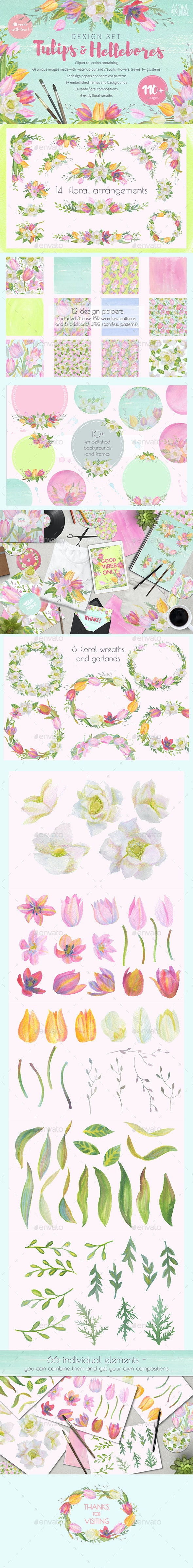 Floral Design Pack Watercolor Pastel By Annareichel Graphicriver