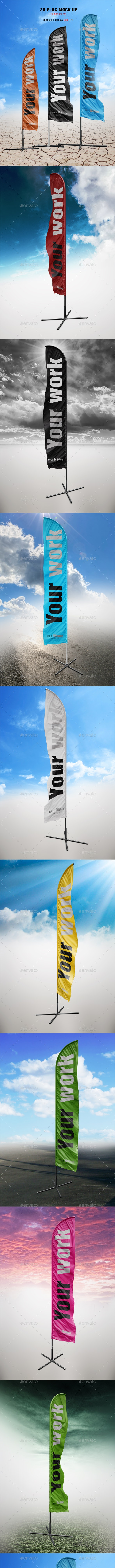 14 Realistic 3D Flag Mock Up`s - Signage Print