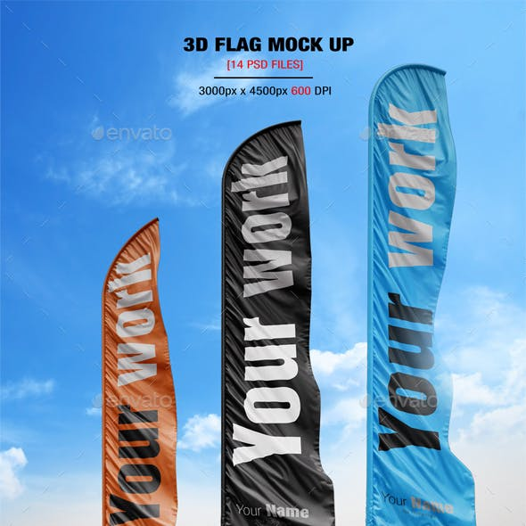 14 Realistic 3D Flag Mock Up`s