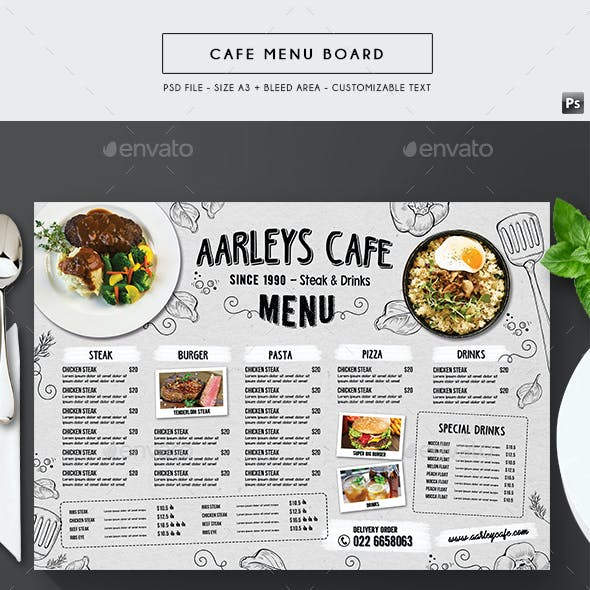 Doodle Cafe Menu Board