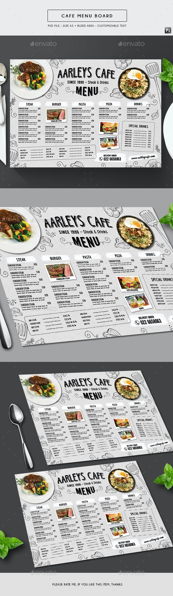 Doodle Cafe Menu Board - Food Menus Print Templates